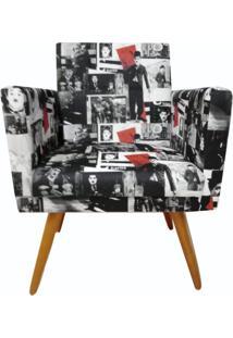 Poltrona Decorativa Nina Com Rodapé Suede Charlie Chaplim Vintage - Ds Móveis - Kanui