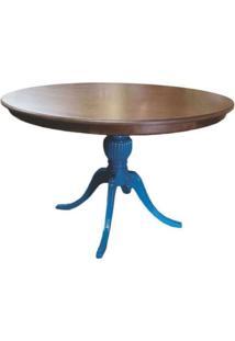 Mesa De Jantar Redonda Carla Tampo Diâmetro 1,40M Azul Turquesa - Tommy Design