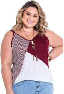 Blusa Plus Size Marguerite Alça Listrada Feminina - Feminino-Vermelho Escuro