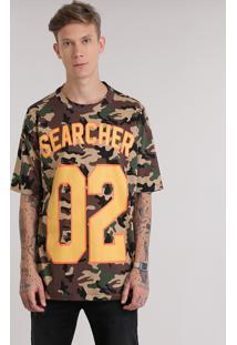 Camiseta Estampada Camuflada Verde Militar