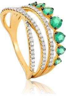 Anel De Ouro 18K Com Esmeralda E Diamantes