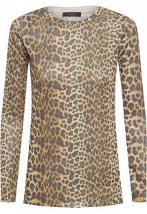 Blusa Feminina Tricot Onça - Animal Print