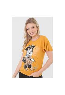 Blusa Cativa Disney Minnie Aplicação Amarela