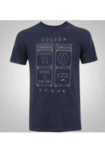 Camiseta Volcom Silk Slim Backline - Masculina - Azul Escuro