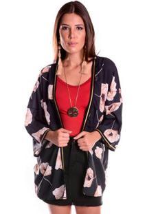Kimono Preto Floral