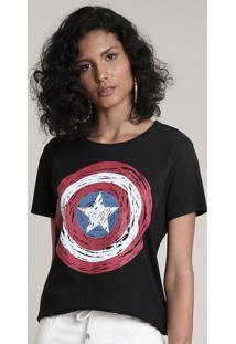 Blusa Feminina Capitão América Manga Curta Decote Redondo Preto