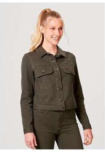 Jaqueta Feminina Em Malha De Algodão Com Bolso Verde-Militar