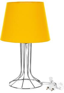 Abajur Torre Dome Amarelo Com Aramado Cromado - Amarelo - Dafiti