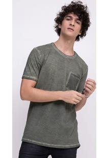 Camiseta Estonada Com Bolso E Recorte