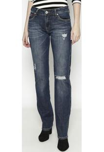 Jeans Verã´Nica Slim Destroyed- Azul Escuro- Forumforum