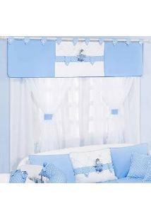 Cortina Para Quarto De Bebê Menino Ternura 1,70M Branco - Azul