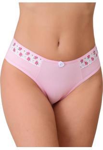 Calcinha Tj Vip Lingerie Cotton Com Renda Estampada Rosa