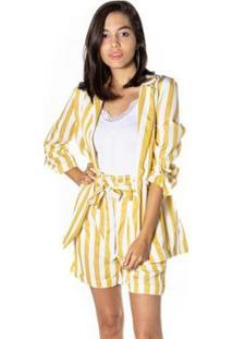 Blazer Dwz Listrado Feminina - Feminino-Amarelo