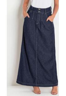 Saia Jeans Escuro Longa Moda Evangélica