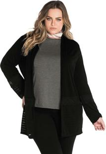 Cardigan Molecotton Feminino Secret Glam Preto