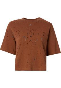 Camiseta John John Basic Whisky Malha Algodão Marrom Feminina (Marrom Medio, P)