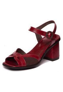 Sandalia Vermelha Em Couro Feminina - Amora / Sued Cafe 7431