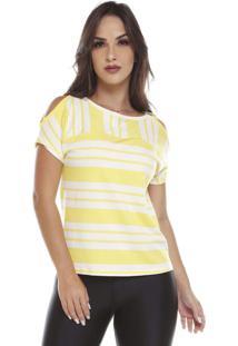 Blusa Listrada Com Argola No Ombro Amarelo