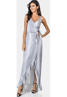 Vestido Longo Estampado Em Tecido Ophidia - Lez A Lez