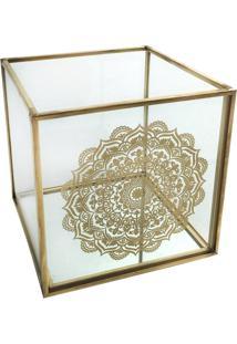 Castiçal De Vidro Dourado Mandala Urban Home