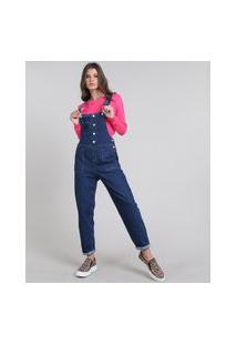 Macacão Jeans Feminino Com Bolsos Azul Escuro