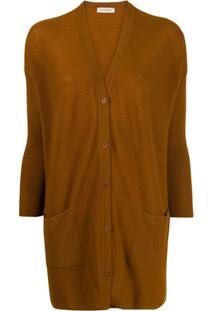 Gentry Portofino Cardigan Oversized De Cashmere - Marrom