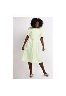 Vestido Feminino Mindset Midi Com Recortes Manga Curta Verde Claro