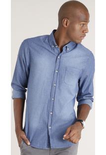 Camisa Jeans Masculina Comfort Listrada Manga Longa Azul Médio