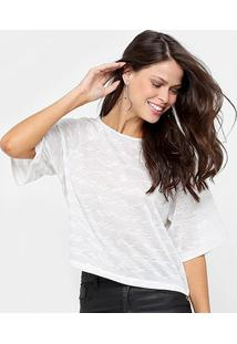 Blusa Holin Stone Listrada Feminina - Feminino-Off White