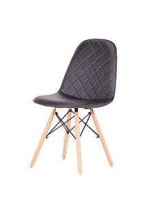 Cadeira Eames Matelasse Cor Preta Com Base Madeira - 61195 Preto