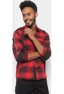 Camisa Xadrez Flanelada Manga Longa Overcore Estampa Costas Masculina - Masculino-Vermelho+Preto