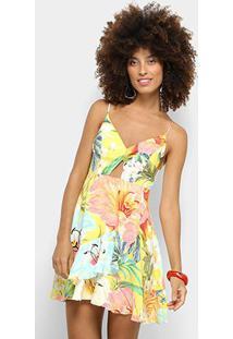 73a05a361 ... Vestido Farm Evasê Curto Babados Filipinas - Feminino-Amarelo