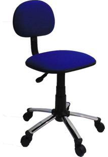 Cadeira De Escritório Secretária Giratória Direction Cromada E Azul