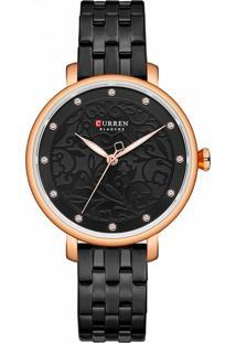 Relógio Curren Analógico C9046L Preto E Rosê