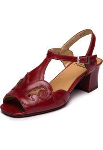 Sandália Brigitte Vermelha Amora / Jatobá - 5390