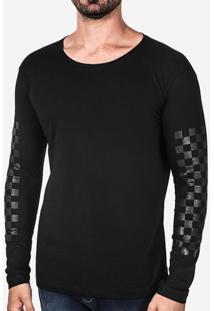 Camiseta Manga Quadriculada Preta 102740
