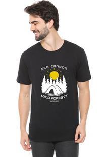 Camiseta De Algodão Masculina Eco Canyon Wild Forest Preto