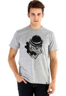 Camiseta Ouroboros Manga Curta Cat Clockwork - Masculino-Cinza