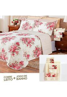 Kit Combo Cobre Leito + Jogo De Banho Dubai Chevron Floral Vermelho Casal 08 Peças Dupla Face 150 Fios