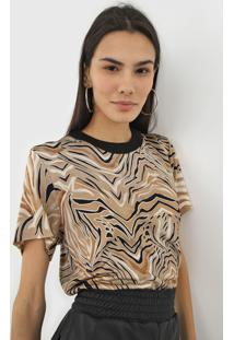 Camiseta Colcci Animal Print Bege - Kanui