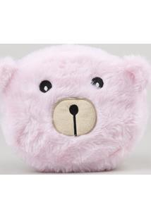 Nécessaire Feminina Urso Com Orelhinhas Em Pelúcia Rosa Claro