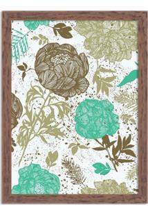 Quadro Decorativo Floral Verde Mesclado Madeira - Médio