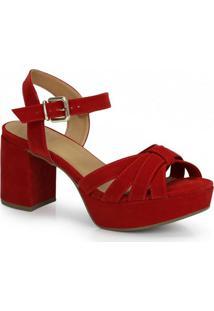 Sandália Salto Grosso Bebecê Vermelho