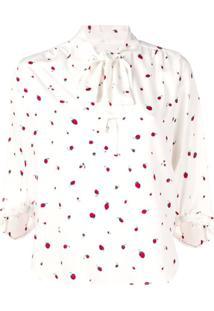 Chinti And Parker Blusa Estampada Com Laço - Branco