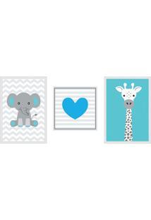 Conjunto Com 3 Quadros Decorativos Coração Blue Azul Turquesa E Cinza