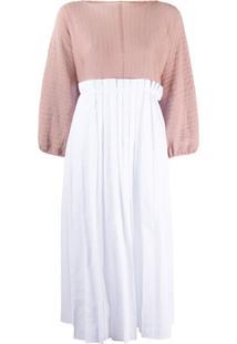 Maison Flaneur Colour-Block Pleated Dress - Branco