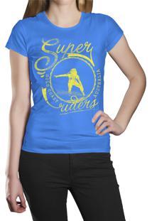 Camiseta Baby Look Hshop Super Rider Azul Turquesa