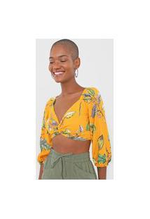 Blusa Cropped Colcci Floral Amarela