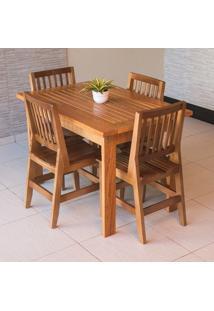 Conjunto Mesa Ripada 1,20M Com 4 Cadeiras Confort Em Madeira De Lei Maciça