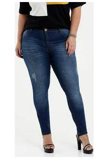Calça Feminina Jeans Cigarrete Puídos Plus Size Biotipo